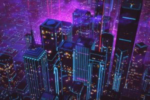 cityscape, Neon, New Retro Wave