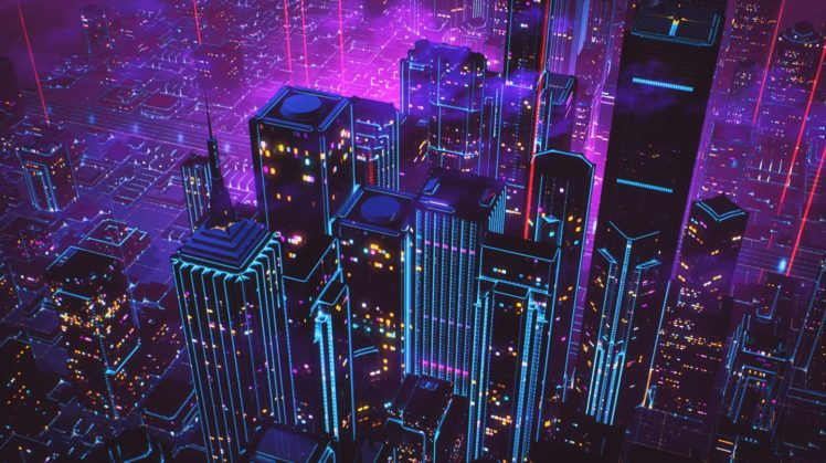 cityscape, Neon, New Retro Wave HD Wallpaper Desktop Background