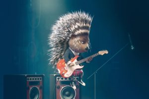 guitar, Speakers, Cartoon, Hedgehog, Sing