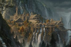 fantasy art, Waterfall, Rivendell, The Lord of the Rings, The Lord of the Rings: The Fellowship of the Ring