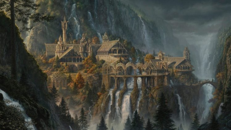 fantasy art, Waterfall, Rivendell, The Lord of the Rings, The Lord of the Rings: The Fellowship of the Ring HD Wallpaper Desktop Background