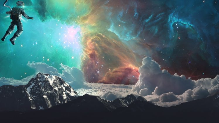 astronaut, Space, Galaxy, Earth, Clouds, Mountains, Photo manipulation, Science fiction HD Wallpaper Desktop Background