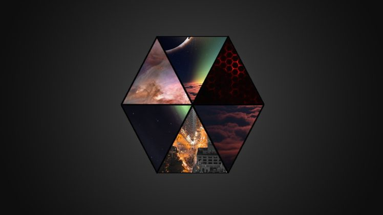hexagon, Cityscape, Triangle, Clouds, Mist HD Wallpaper Desktop Background