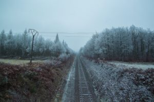 railway, Landscape, Trees, Cold, Winter