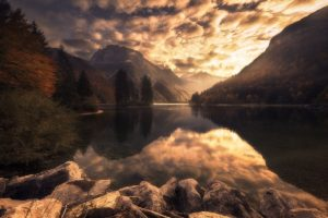 nature, Photography, Landscape, Fall, Lake, Mountains, Sunset, Reflection, Forest, Slovenia