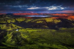 nature, Photography, Landscape, Sunrise, Mountains, Grass, Lake, Clouds, Aerial view, Iceland