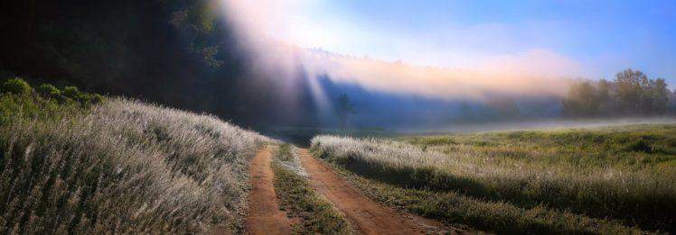 nature, Photography, Landscape, Morning, Dirt road, Grass, Mist, Sun rays, Trees, Panorama HD Wallpaper Desktop Background