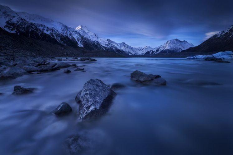 nature, Photography, Landscape, Lake, Mountains, Snow, Sunrise, Blue, New Zealand HD Wallpaper Desktop Background