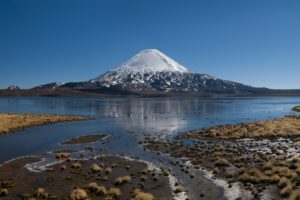 nature, Photography, Landscape, Snowy peak, Volcano, Mountains, Lake, National park, Blue, Chile