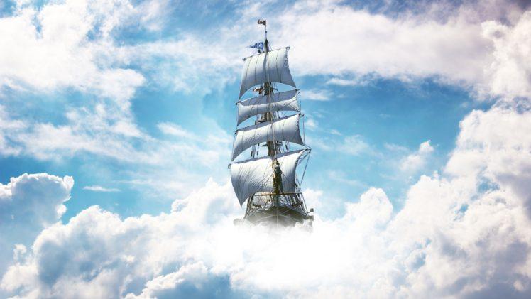 ship, Sky, Clouds, Sailing ship HD Wallpaper Desktop Background