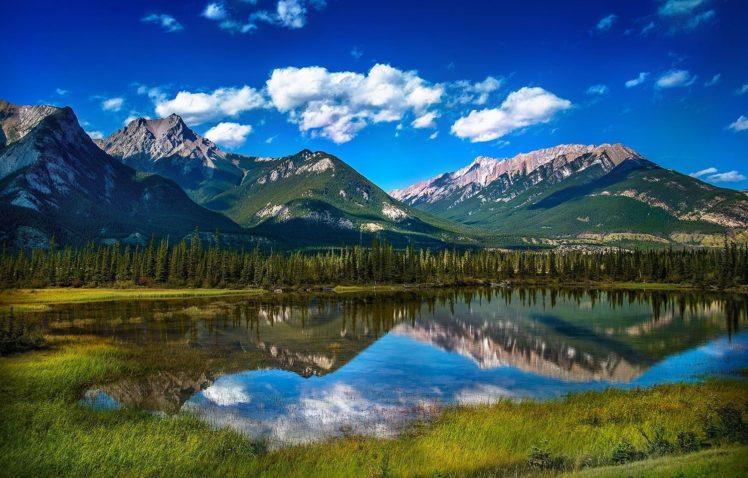 nature, Photography, Landscape, Mountains, Lake, Reflection, Grass, Forest, Summer, Blue, Jasper National Park, Alberta, Canada HD Wallpaper Desktop Background
