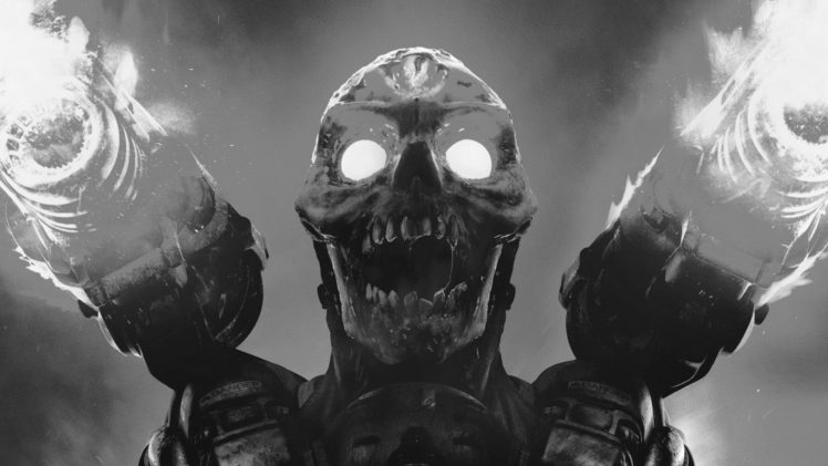 Doom (game), Video games, Monochrome, Skull, Doom 2016 HD Wallpaper Desktop Background