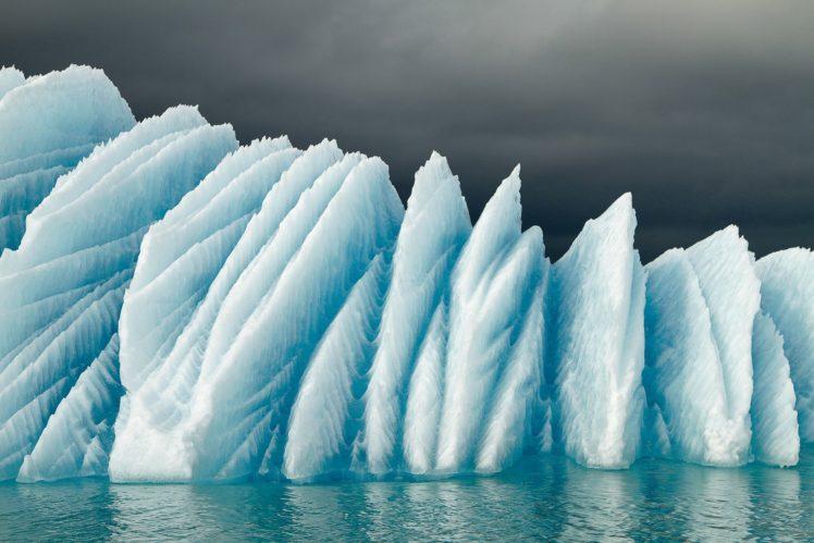 nature, Landscape, Winter, Ice, Snow, Glaciers, Iceland, Sea, Clouds, Reflection HD Wallpaper Desktop Background