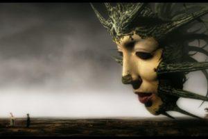 face, Profile, Digital art, Movies, Mirror Mask, Film stills, Fantasy art, Surreal, Horizon, Clouds