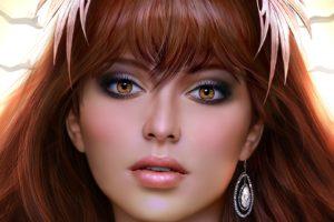 face, Bangs, Redhead, Open mouth, Looking at viewer, Women, Digital art, Portrait, Hoop earrings, Brown eyes, Fantasy girl, Leaves