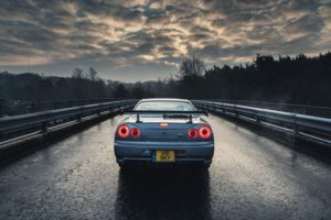 car, Nissan, Nissan Skyline GT R R34, Blue cars, Rain, Trees, Sky