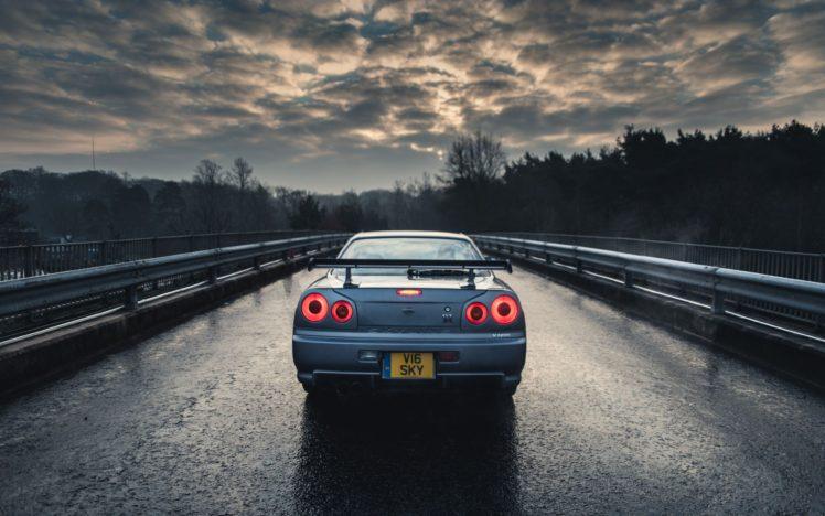 car, Nissan, Nissan Skyline GT R R34, Blue cars, Rain