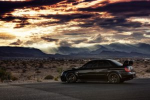 car, Subaru Impreza WRX STi, Subaru, Black cars, Sunset, Desert, Clouds