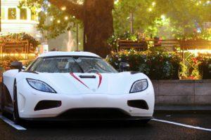 car, Koenigsegg Agera, Koenigsegg, White cars, Sun, Trees