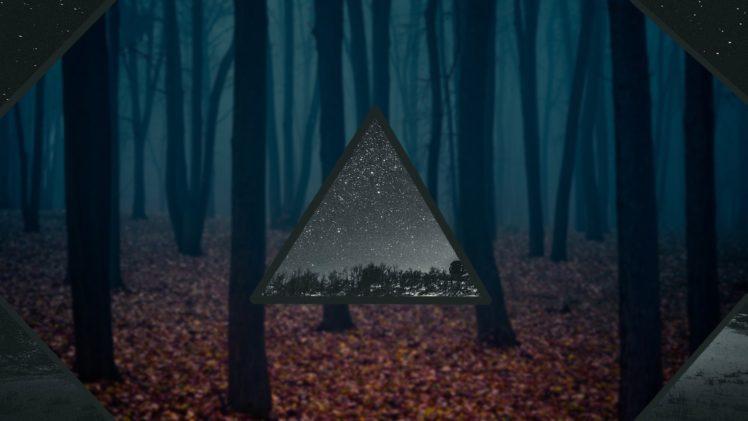 trees, Stars, Space, Blurred HD Wallpaper Desktop Background