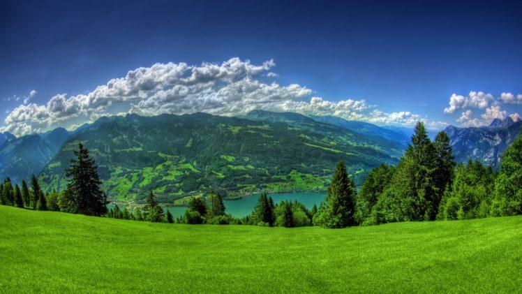 landscape, Mountains, Nature, Clouds, Sea, Water, Lake, Hills HD Wallpaper Desktop Background