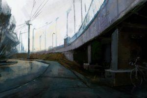 overpass, Street, Painting, Grunge