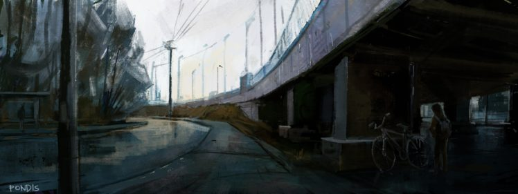 Overpass Street Painting Grunge HD Wallpaper Desktop Background