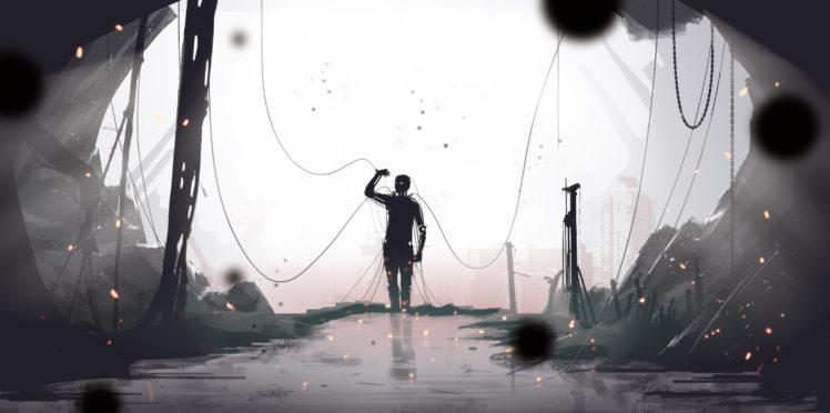 digital art, Robot, Cyberpunk, Science fiction HD Wallpaper Desktop Background