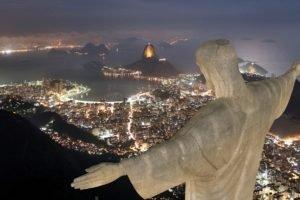 Christ the Redeemer, Rio de Janeiro, Cityscape, Night, Statue, Brazil, Brazilian
