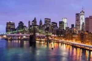 cityscape, New York City, USA, Brooklyn Bridge