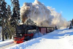 train, Snow, Steam locomotive