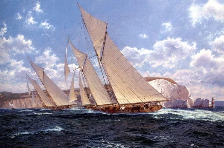 schooners, Cliff, Sailing ship, Lighthouse HD Wallpaper Desktop Background