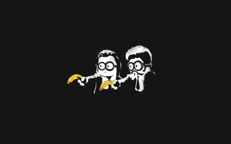minions, Minimalism, Black, Pulp Fiction, Bananas, Pulp Fiction (parody), Parody, Mix up HD Wallpaper Desktop Background