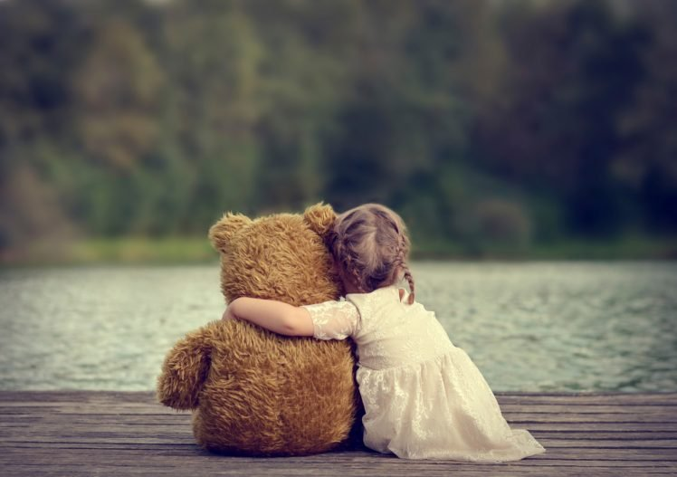 Children Little Girl Teddy Bears Hd Wallpapers Desktop And