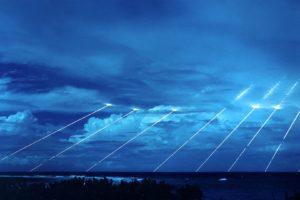 clouds, Sea, Missiles, Lights, Blue, Marshall Islands, ICBM, Military