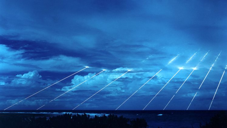 clouds, Sea, Missiles, Lights, Blue, Marshall Islands, ICBM, Military HD Wallpaper Desktop Background