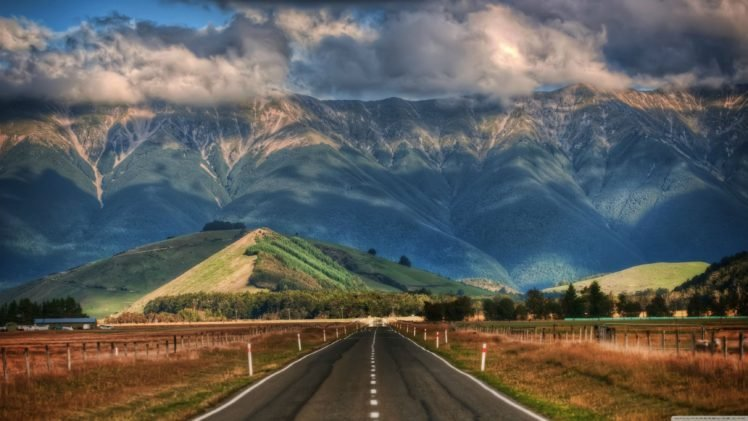 Mountains Clouds Sunlight Road New Zealand Hd Wallpapers