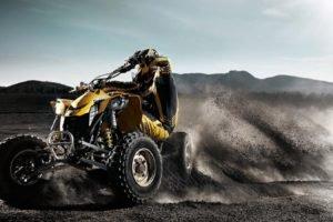 ATVs, Quad, Black background, Bicycle, Yellow