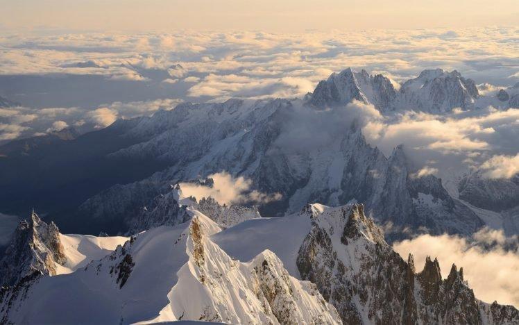 mountains, Snow, Winter HD Wallpaper Desktop Background