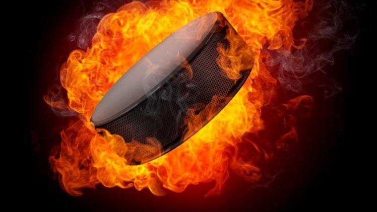puck, Fire, Explosion, Ice hockey HD Wallpaper Desktop Background