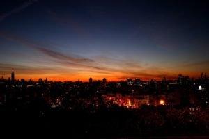 sunset, Cityscape, City