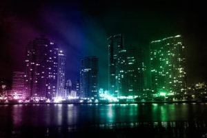 colorful, City, Lights
