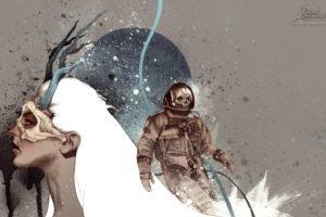white hair, Astronaut, Dead Astronauts, Paint splatter, Antlers, Skull