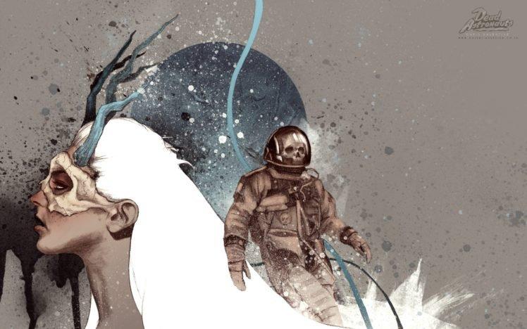 white hair, Astronaut, Dead Astronauts, Paint splatter, Antlers, Skull HD Wallpaper Desktop Background