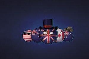 countryballs, USA, England, Canada, Australia, Hat, New Zealand