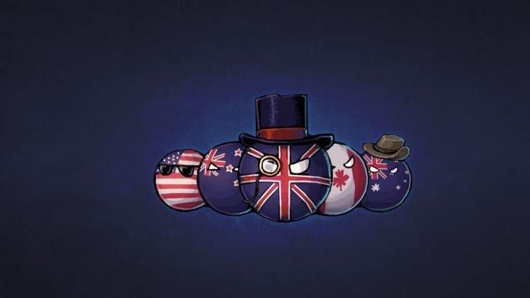 countryballs, USA, England, Canada, Australia, Hat, New Zealand HD Wallpaper Desktop Background