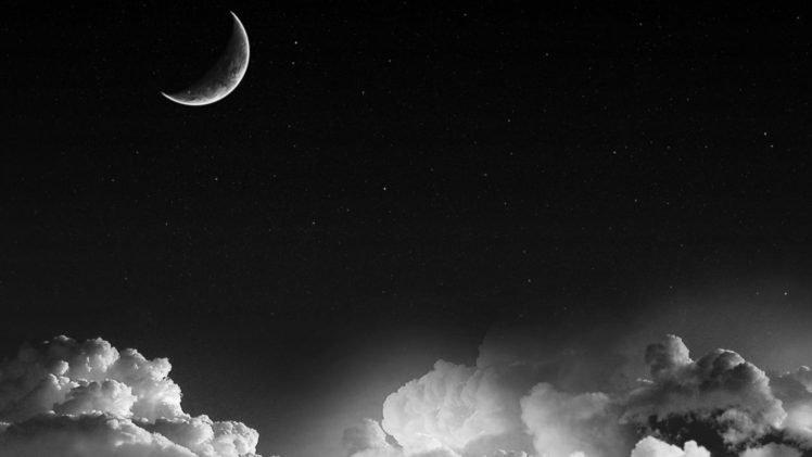 Moon, Clouds, Monochrome HD Wallpaper Desktop Background