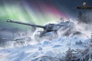 World of Tanks, Tank, T110E4, Wargaming, Snow, Aurora  borealis, Forest