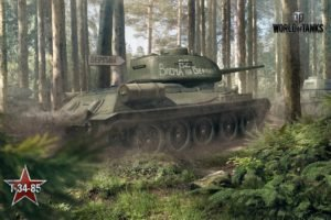 tank, World of Tanks, T 34 85, Wargaming, Forest