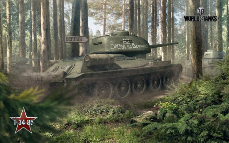tank, World of Tanks, T 34 85, Wargaming, Forest HD Wallpaper Desktop Background